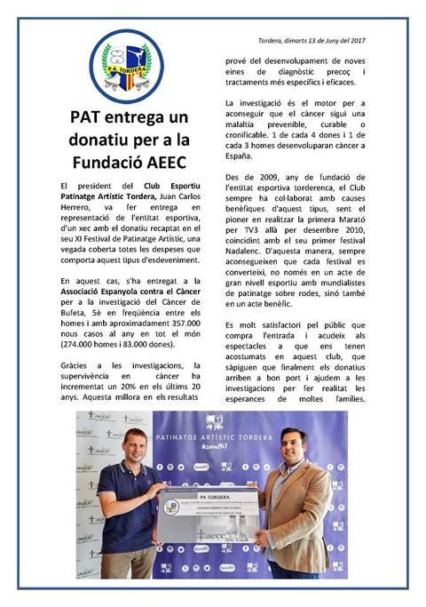 PAT ENTREGA UN DONATIVO PARA LA FUNDACIÓN AECC